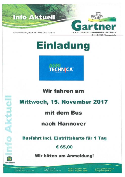 Wir fahren am 15. November zur Agritechnica 2017 nach Hannover !!!
