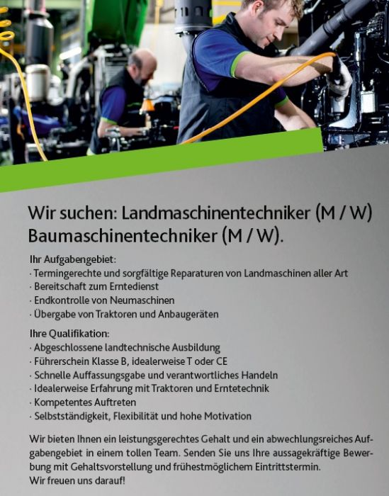 Landmaschinenmechaniker (m/w) gesucht!