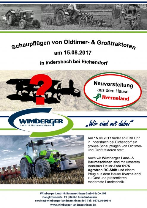 Schaupflügen in Indersbach am 15.08.2017 - wir sind mit dabei!