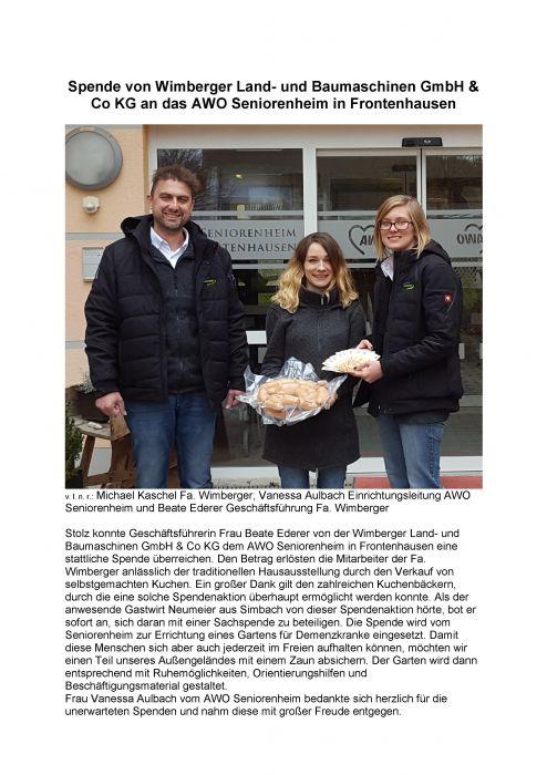 Spende an das AWO Seniorenheim in Frontenhausen: