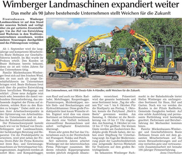 Wimberger Landmaschinen expandiert weiter!