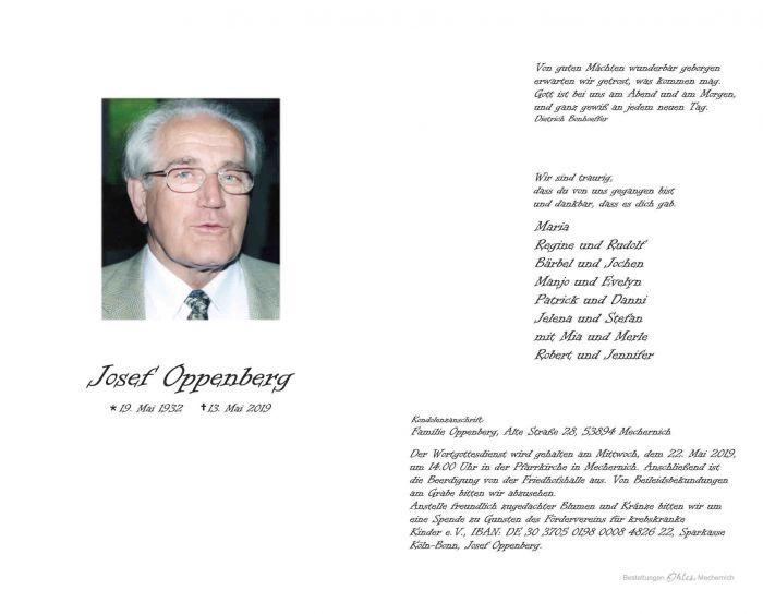 Zum Tode Josef Oppenbergs...
