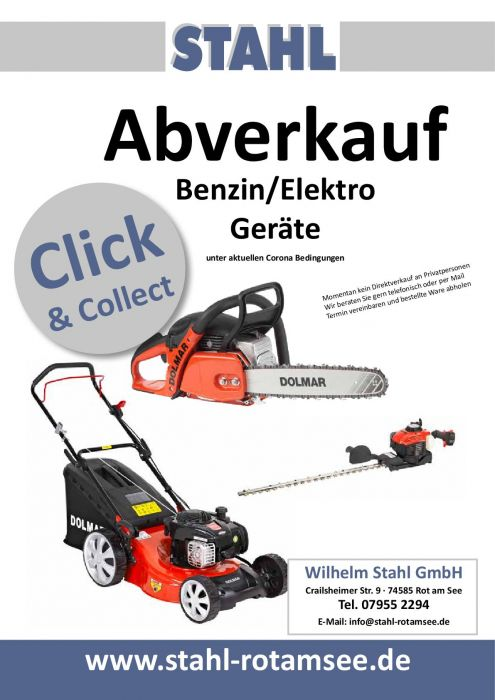 Abverkauf Benzin- und Elektrogeräte